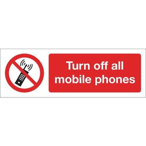 Turn Off All Mobile Phones Self-Adhesive Vinyl 600x200