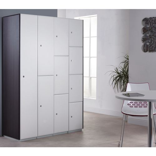 Executive Laminate Door Locker 1800x380x380 2 Compartment Pearl White Doors
