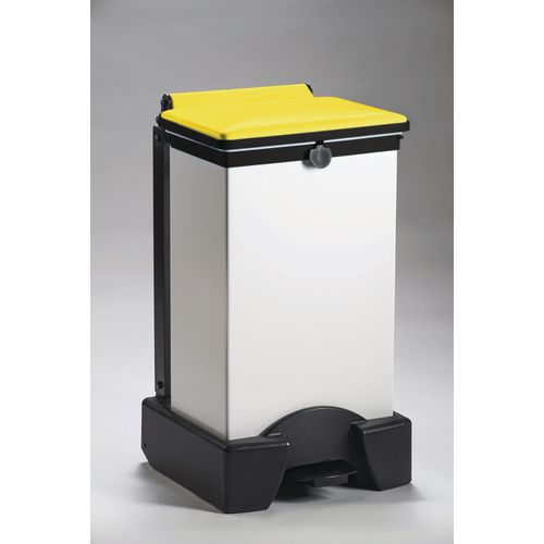 65 Litre All Plastic Removable Body Fire Retardant Sack Holder With Yellow Lid