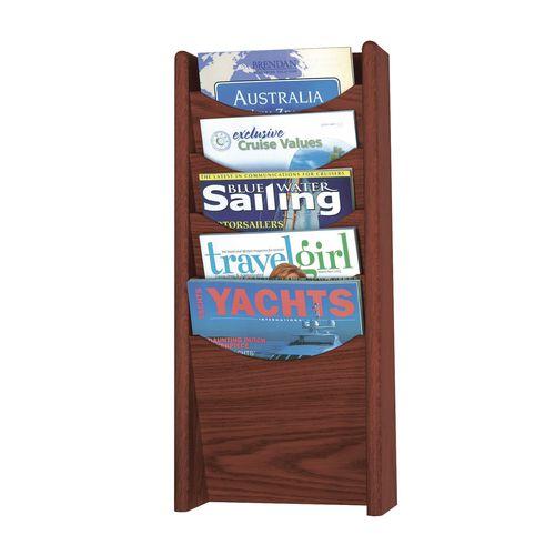 Mahogany Wall Literature Dispenser 5 Pockets