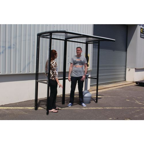 Corfe Open Fronted Smoking Shelter With Clear Roof Freestanding &Tower Bin Black HxWxD mm: 2100x4182x1074