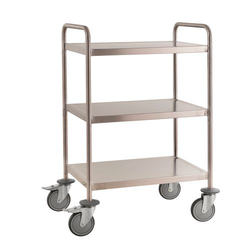 Three Tier Stainless Steel Trolley LxW650x440mm. Welded Construction With Handles