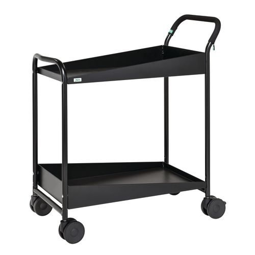 Two Tier Trolley With Black Rubber Mat And Comfort Grip Handle. Black Painted Finish. LxWxH 866x455x980mm