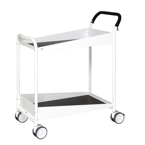 Two Tier Trolley With Black Rubber Mat And Comfort Grip Handle. White Painted Finish. LxWxH 866x455x980mm