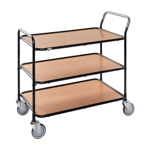 Light Duty Three Tier Trolley. Beech Shelves Black Painted Frame