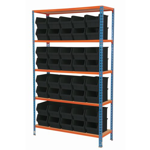 Value Shelving And Bin Kit  40 Black Bins