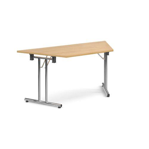Deluxe Trapezoidal Folding Leg Oak Meeting Table