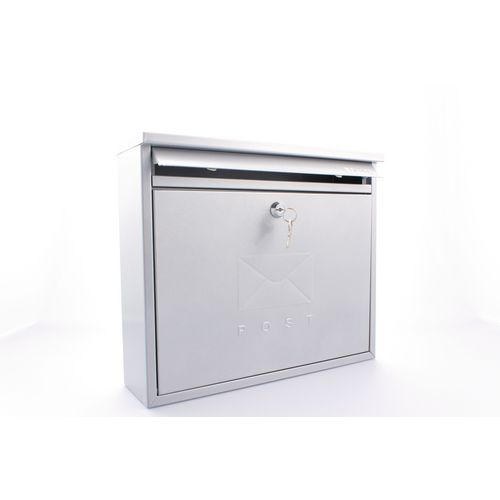 Post Box Outward Opening Letter Flap For Improved Weather Protection. Suitable For Grouping Or Banked. W362 Silver