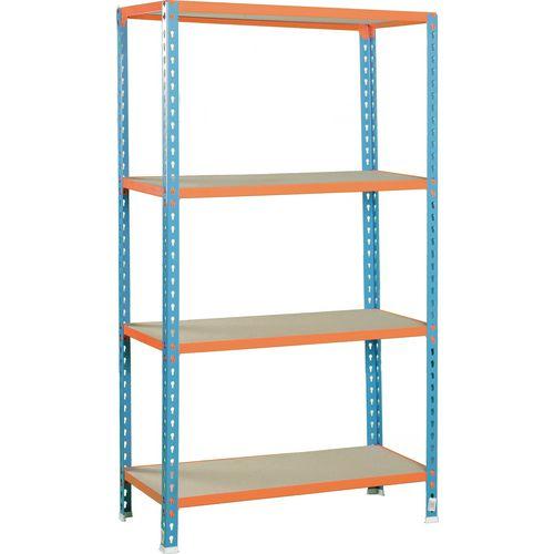 Simonclick Standard Duty Boltless Chipboard 4 Shelf Unit HxWxD 2000x900x400mm - 200kg Shelf Capacity, 5 Year Guarantee