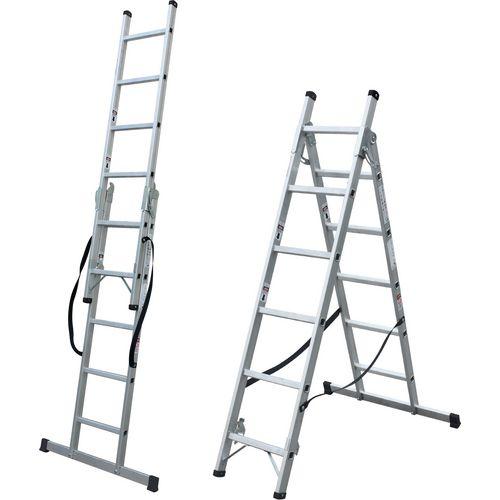 2 Section Aluminium Combination Ladder 2X14 Treads En131 150Kg
