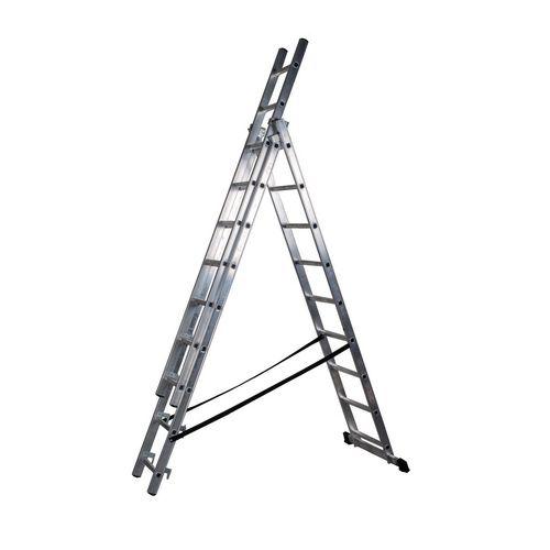 3 Section Aluminium Combination Ladder 3X9 Treads En131 150Kg