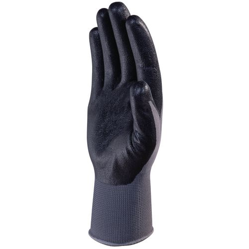 Nitrile Coated Knitted Polyester Glove Gauge 13 Size 10  Charcoal