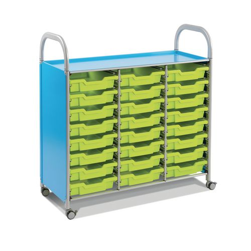 Mobile Tray Storage Unit Triple Column With 24 Grass Green Shallow Trays