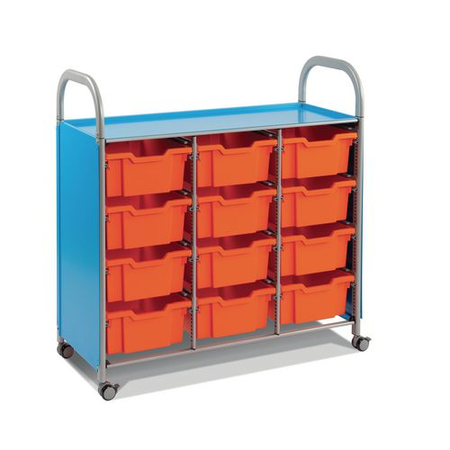 Mobile Tray Storage Unit Triple Column With 12 Royal Blue Deep Trays
