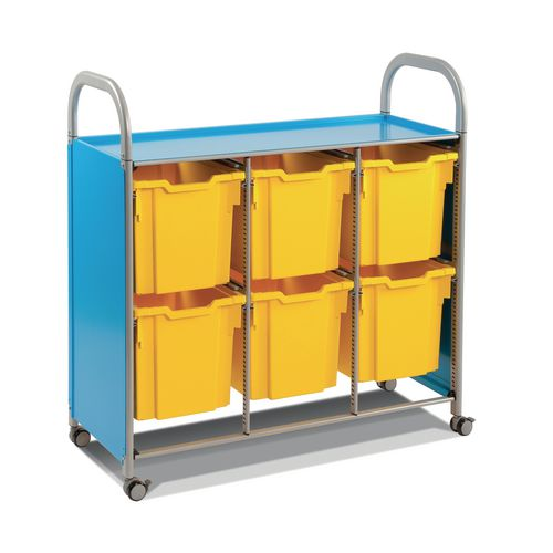 Mobile Tray Storage Unit Triple Column With 6 Sunshine Yellow Jumbo Trays