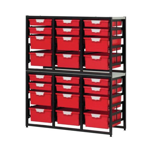 Tray Unit Dark Grey Frame  12 Shallow And 12 Deep Trays Static A4 Red H1330xW1080xD455mm
