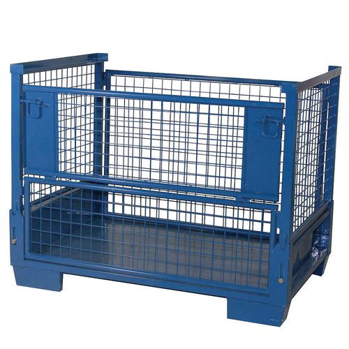 Heavy Duty Collapsible Cage Pallet With Half-Drop Gate. Removable Gates. Sheet Steel Base. Blue Epo