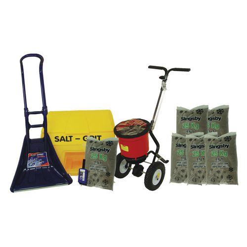 Small Business Kit Includes: 200L Grit Bin 6 Bags 25Kg Brown Salt Salt Spreader Scoop And S