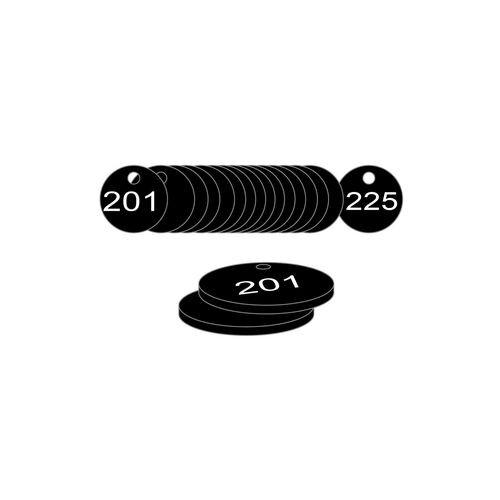 27mm Dia. Traffolite Tags Black (201 To 225)