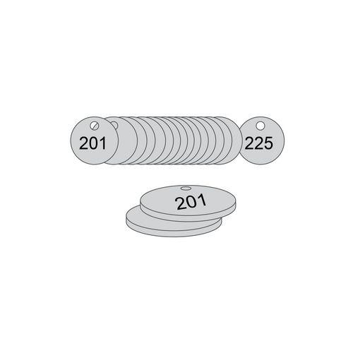27mm Dia. Traffolite Tags Grey (201 To 225)