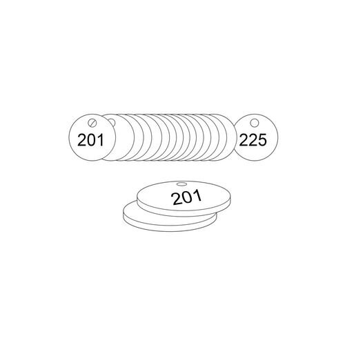 27mm Dia. Traffolite Tags White (201 To 225)