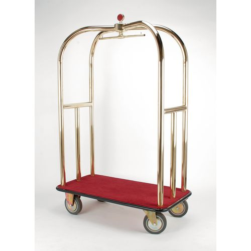 Crown Luggage Trolley Brass With Burgundy Carpeting