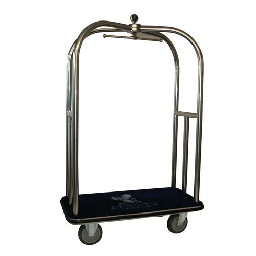 Crown Luggage Trolley Stainless Steel With Green Carpeting