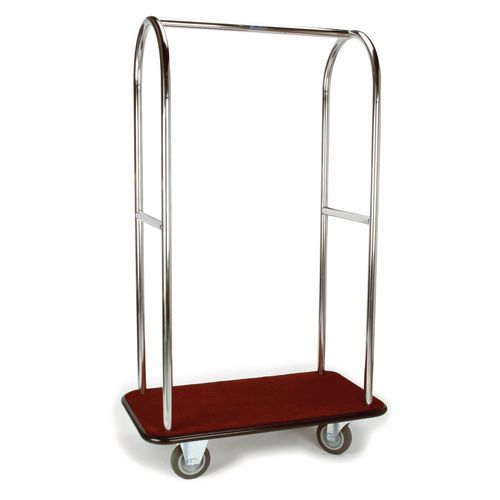 Stainless Steel Bellmans Trolley With Green Carpeting