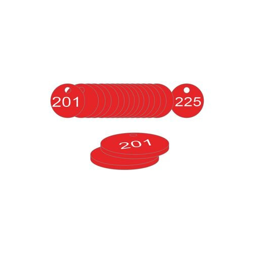 33mm Dia. Traffolite Tags Red (201 To 225)