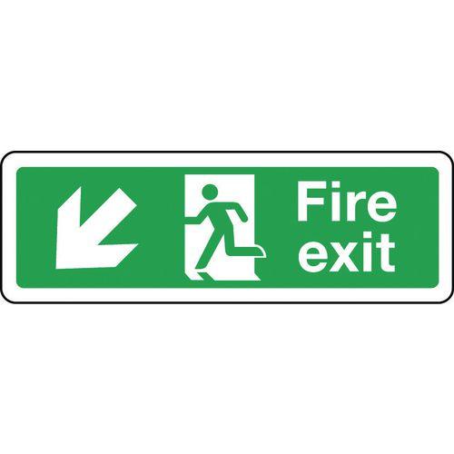 Sign Fire Exit Arrow Down Left 600x200 Polycarb