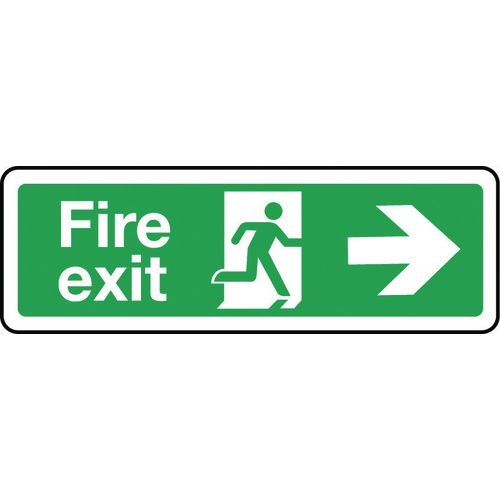 Sign Fire Exit Arrow Right 300x100 Polycarb