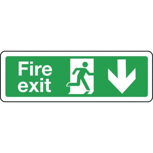 Sign Fire Exit Arrow Down 600x200 Polycarb