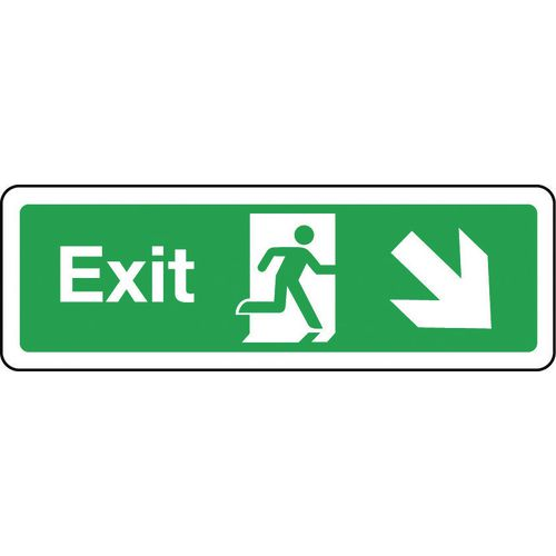 Sign Exit Arrow Down Right 300x100 Polycarb