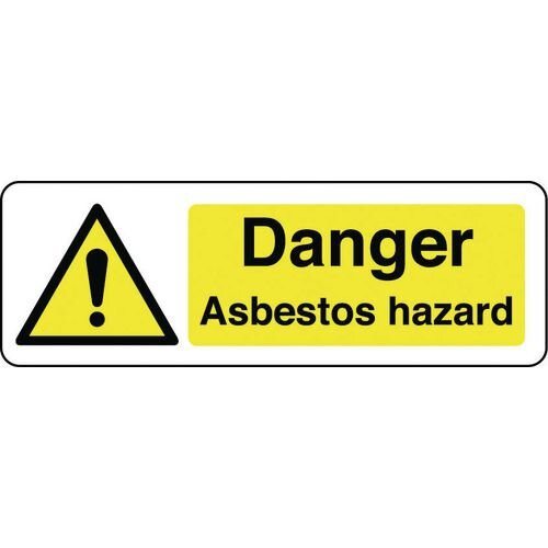Sign Danger Asbestos Hazard 600x200 Polycarb