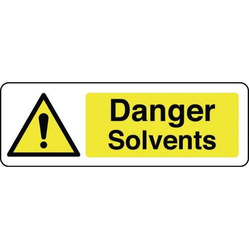 Sign Danger Solvents 600x200 Polycarb