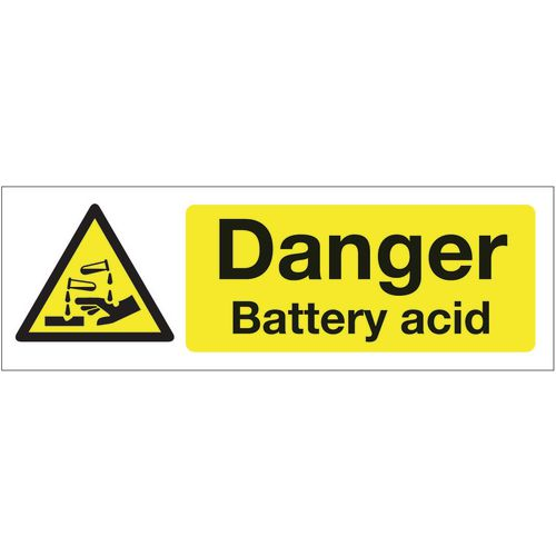 Sign Danger Battery Acid 300x100 Polycarb