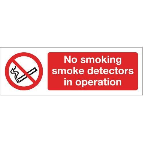 Sign No Smoking Smoke Detectors 300x100 Polycarb