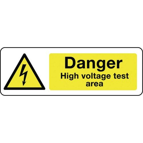 Sign Danger High Voltage Test Area 300x100 Polycarb