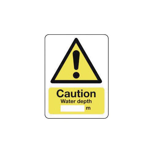 Sign Caution Water Depth 600X200 Polycarbonate