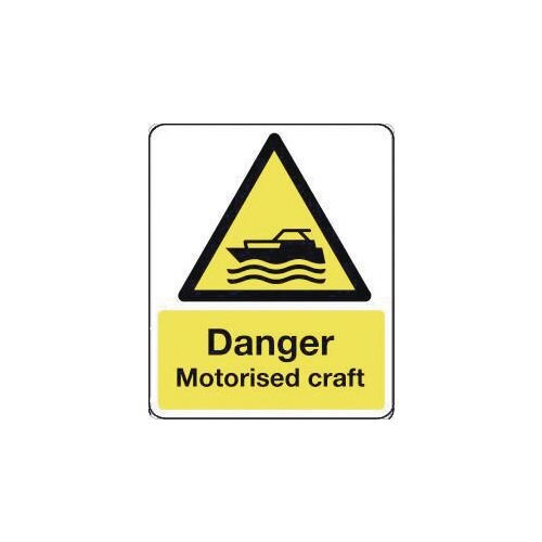 Sign Danger Motorised Craft 600X200 Polycarbonate