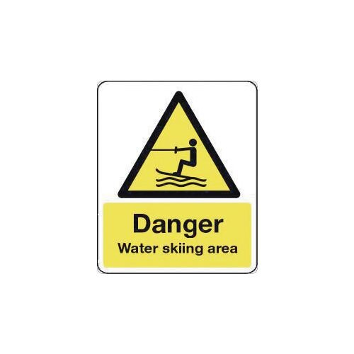 Sign Danger Water Skiing Area 300X100 Polycarbonate