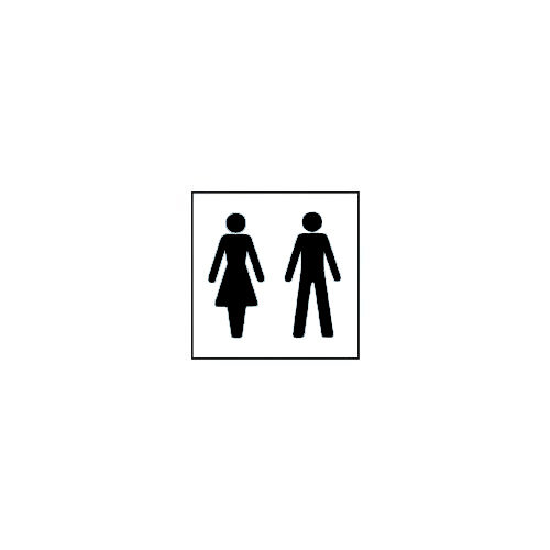 PVC Information Sign Square Ladies And Gentlemen Pictorial Black On White Ref SY8CJ9FF