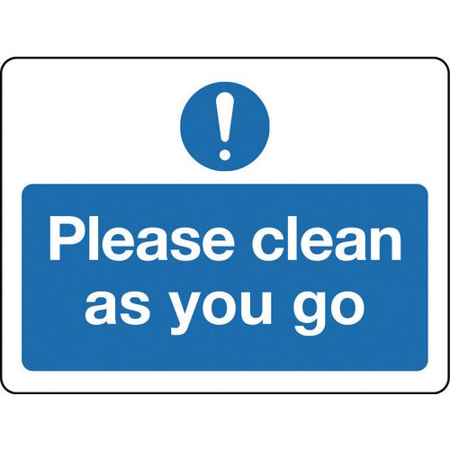 Sign Please Clean As You Go Polycarbonate 300x100