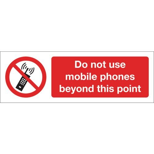Sign Do Not Use Mobile Phones Beyond This Point Polycarbonate 600x200