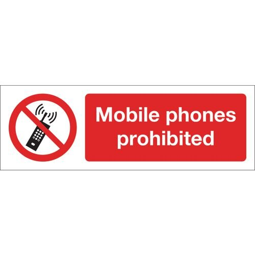 Mobile Phones Prohibited Polycarbonate 600x200