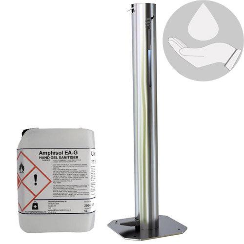 Hygenise Pedal-Operated Hand Sanitiser Dispenser Large &5L Fully Approved Ethanol Based Hand Sanitizer Gel PCS 100421 Bundle Offer