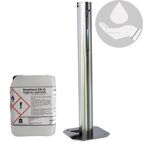 Hygenise Pedal-Operated Hand Sanitiser Dispenser Medium &5L Fully Approved Ethanol Based Hand Sanitizer Gel PCS 100421 Bundle Offer