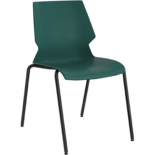 Titan Uni 4 Leg Classroom Chair 475mm Seat Height Grey Frame &Green Seat