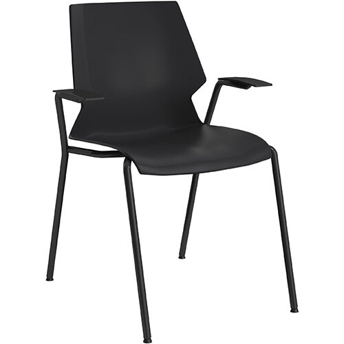 Titan Uni 4 Leg Classroom Chair with Arms 475mm Seat Height Grey Frame &Black Seat