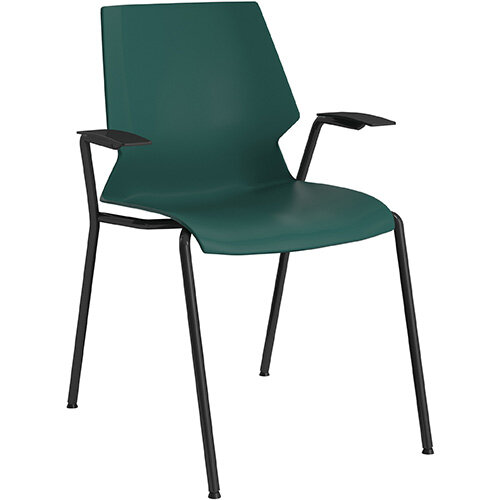 Titan Uni 4 Leg Classroom Chair with Arms 475mm Seat Height Grey Frame &Green Seat